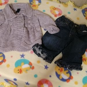 0-6 months girl jeans and sweater